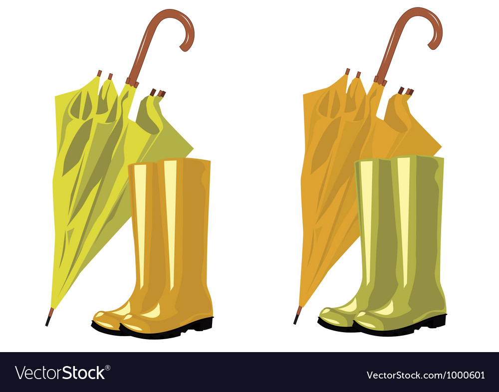 Umbrella and rubber boots vector | Price: 1 Credit (USD $1)
