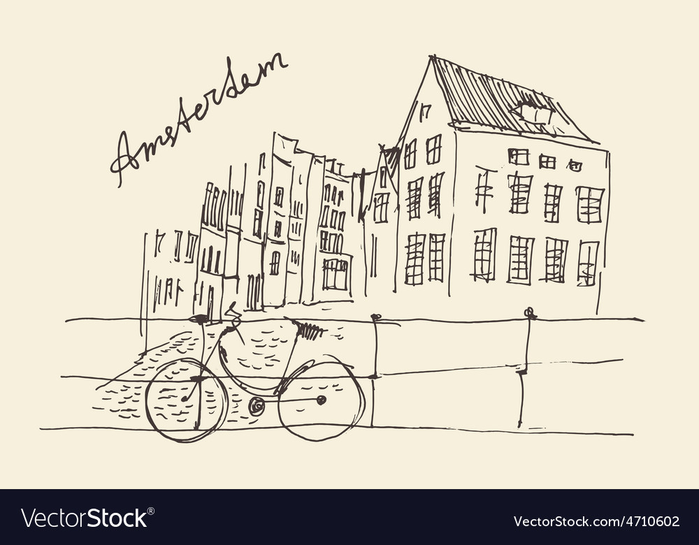 Amsterdam city architecture vintage engraved vector | Price: 1 Credit (USD $1)