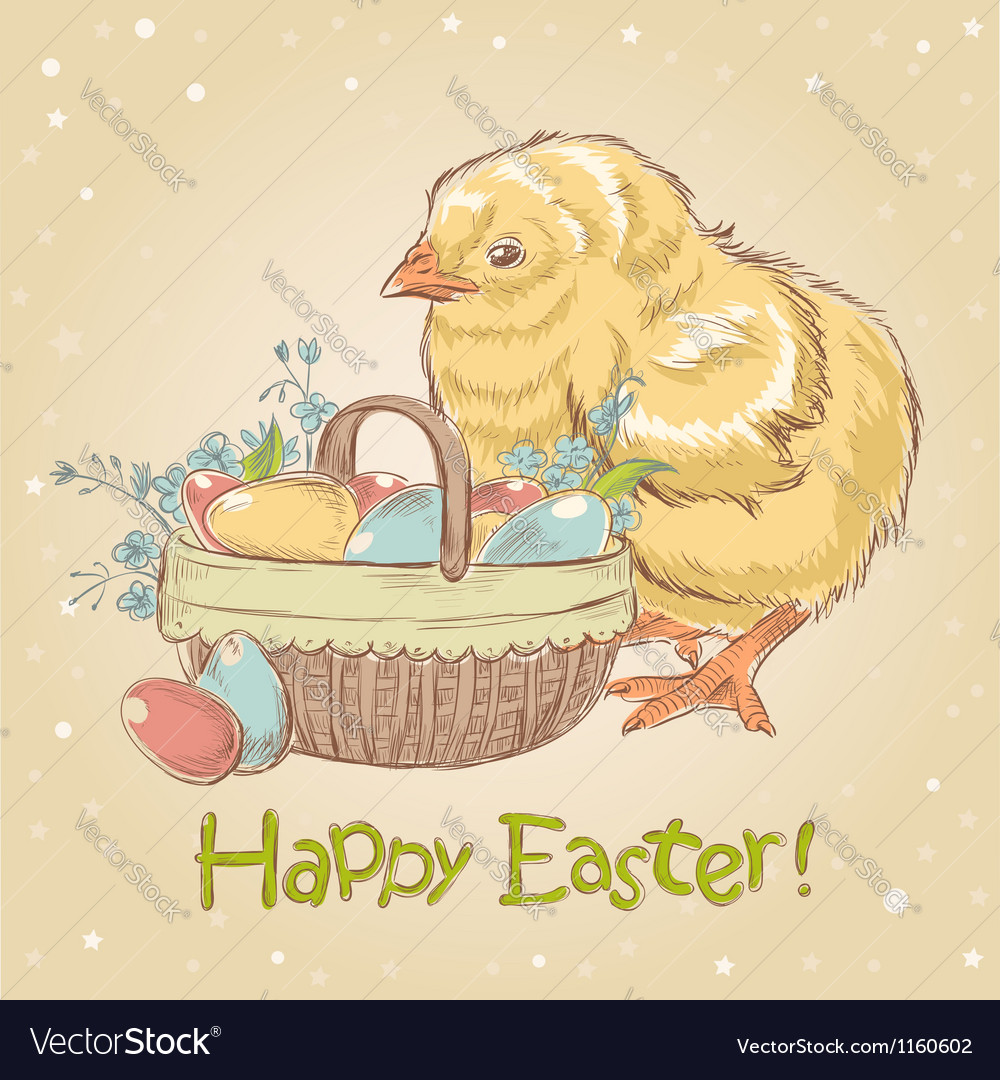 Easter vintage hand drawn card with little chicken vector | Price: 1 Credit (USD $1)