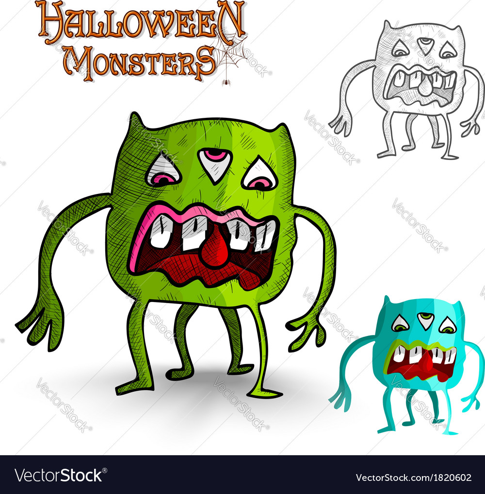 Halloween monsters four legs freak eps10 file vector | Price: 1 Credit (USD $1)