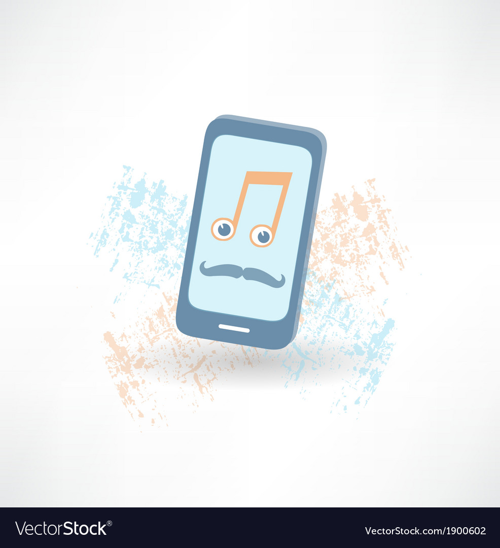 Mobile phone with a mustache and music notes icon vector | Price: 1 Credit (USD $1)