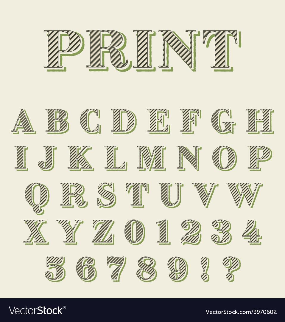Print technique retro alphabet vector | Price: 1 Credit (USD $1)
