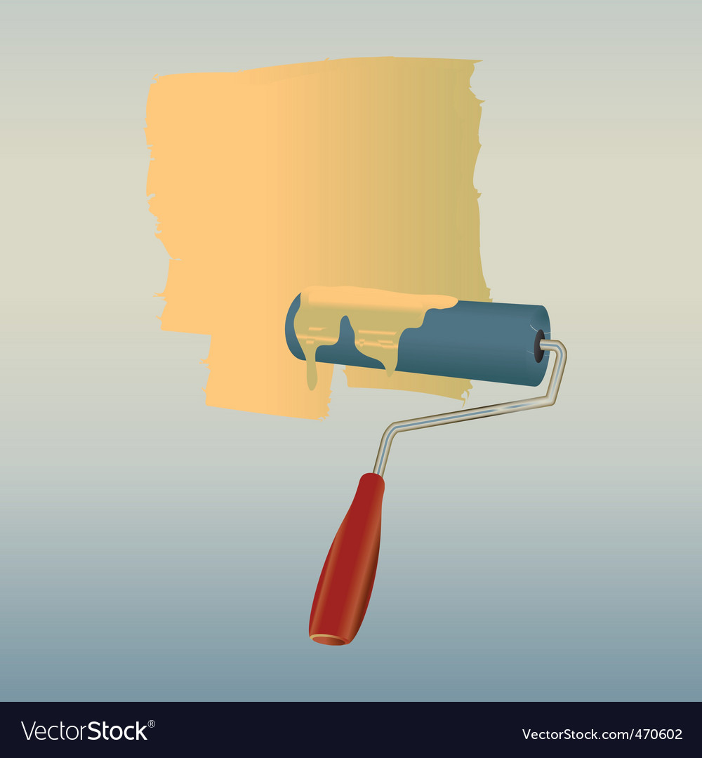 Roller drawing on the wall vector | Price: 1 Credit (USD $1)