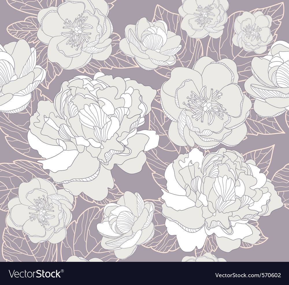Seamless floral pattern or background with flowers vector | Price: 1 Credit (USD $1)