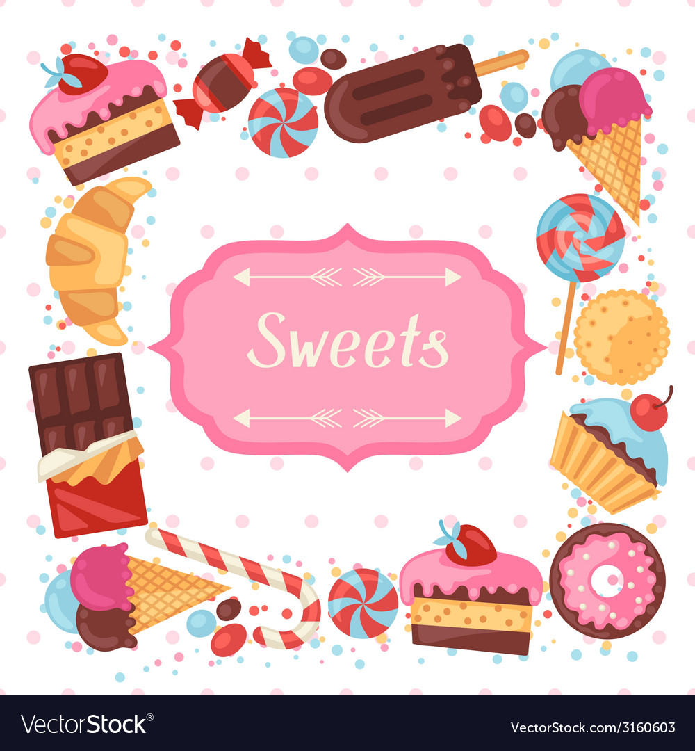 Background with colorful various candy sweets and vector   Price: 1 Credit (USD $1)