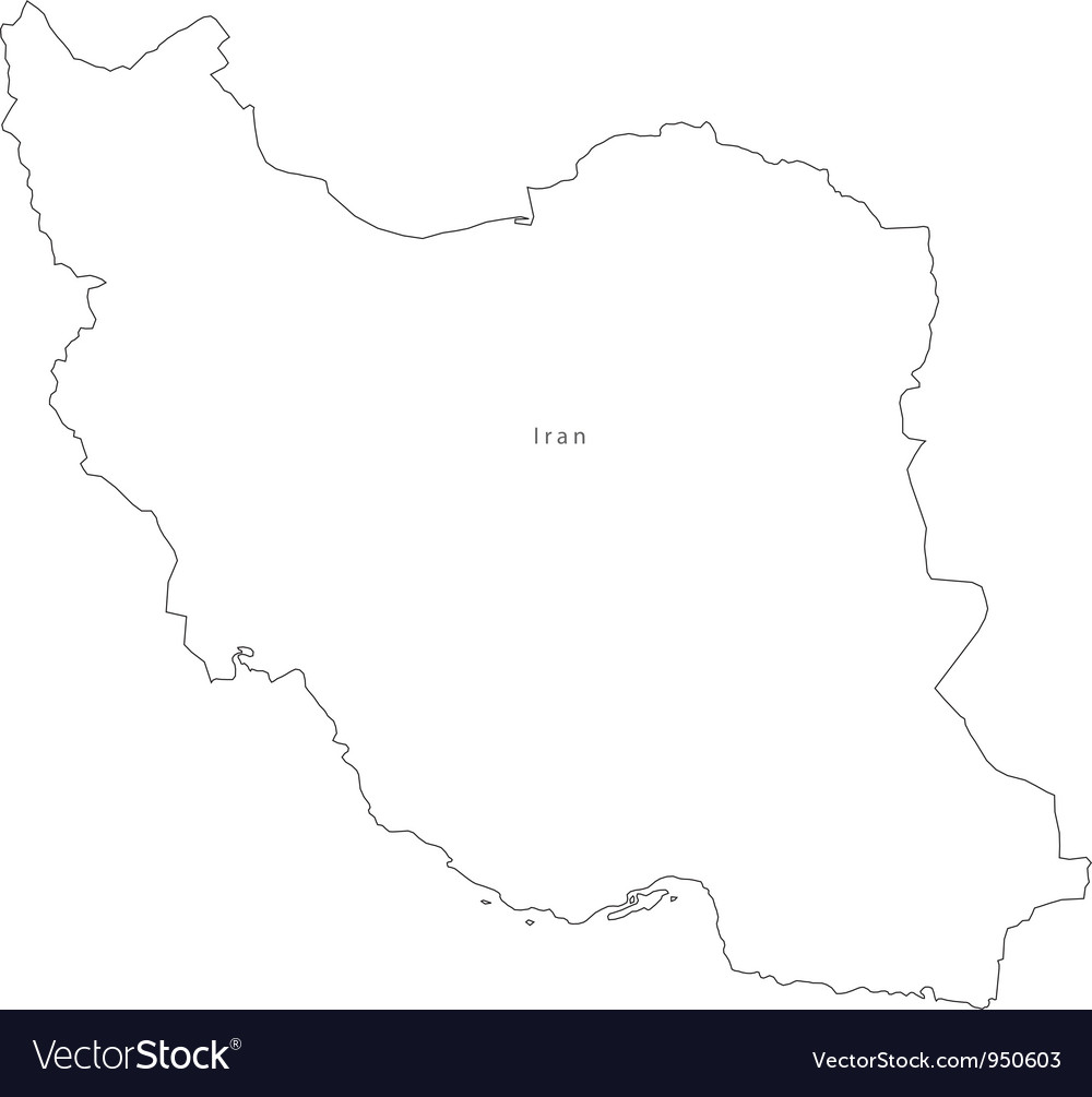Black white iran outline map vector | Price: 1 Credit (USD $1)