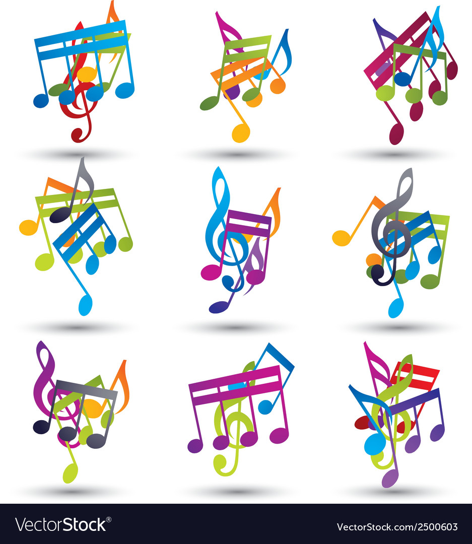 Bright expressive jolly musical notes and symbols vector | Price: 1 Credit (USD $1)