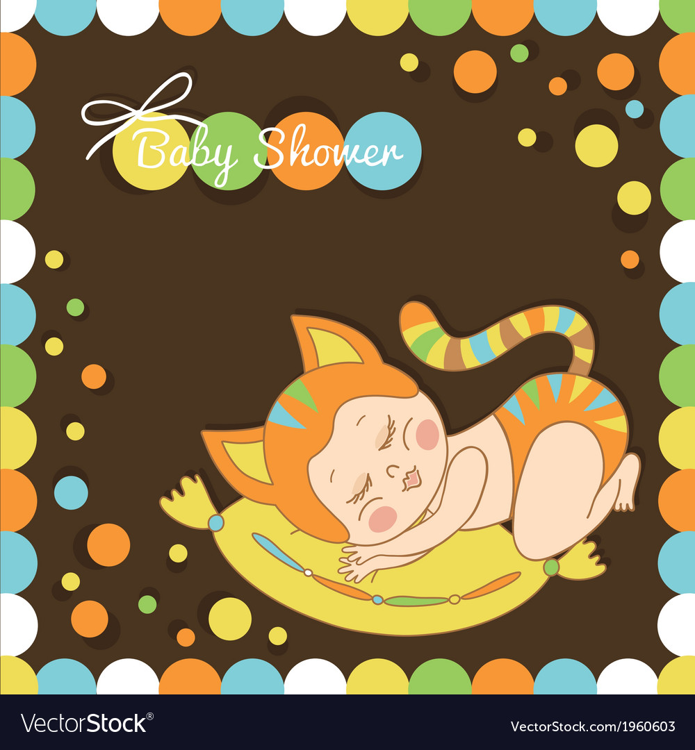 Card with the birth of a child dressed as a cat vector | Price: 1 Credit (USD $1)