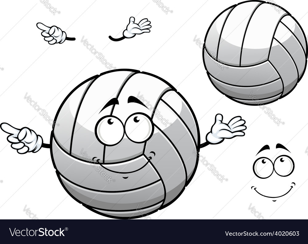 Cartooned smiling white volleyball ball vector | Price: 1 Credit (USD $1)