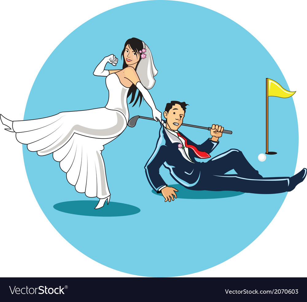 Get married to golfer vector | Price: 1 Credit (USD $1)
