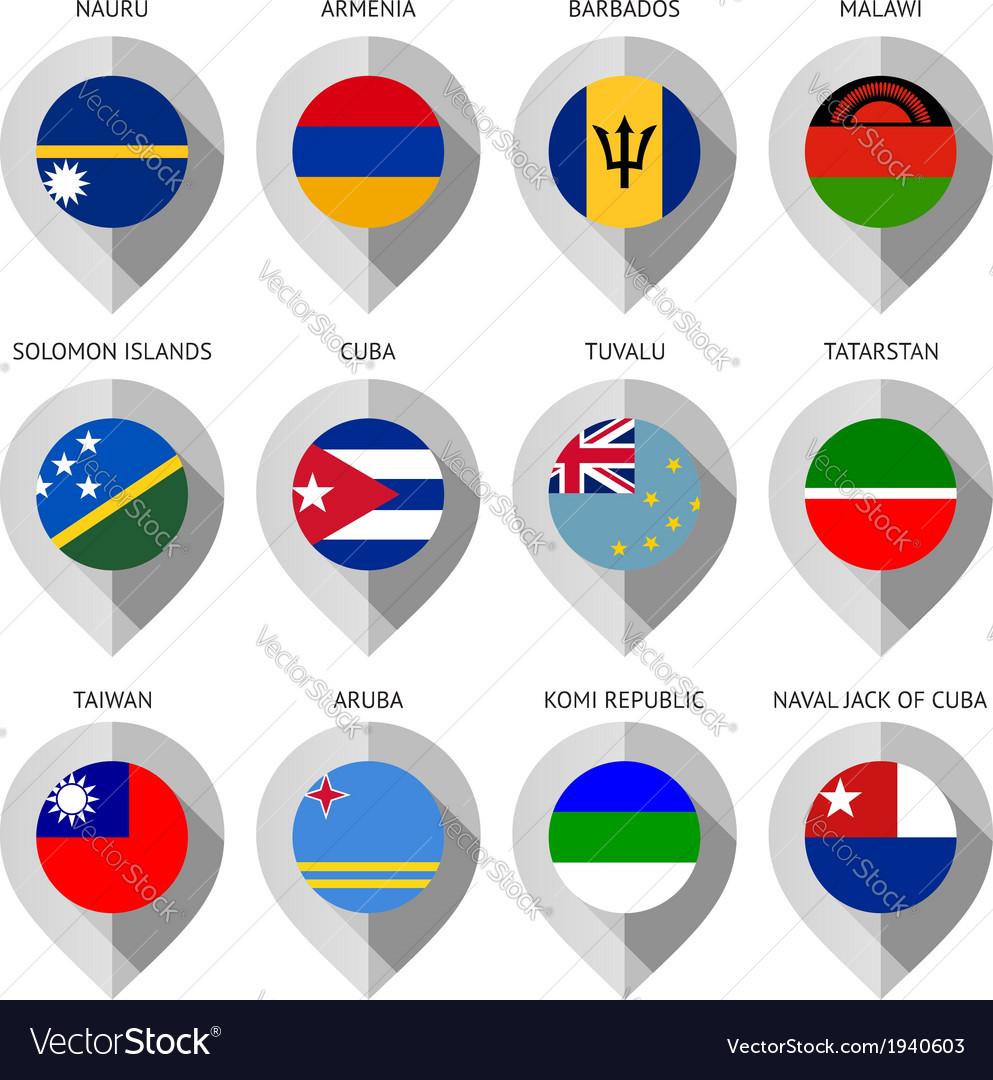 Marker from paper with flag for map - set vector | Price: 1 Credit (USD $1)