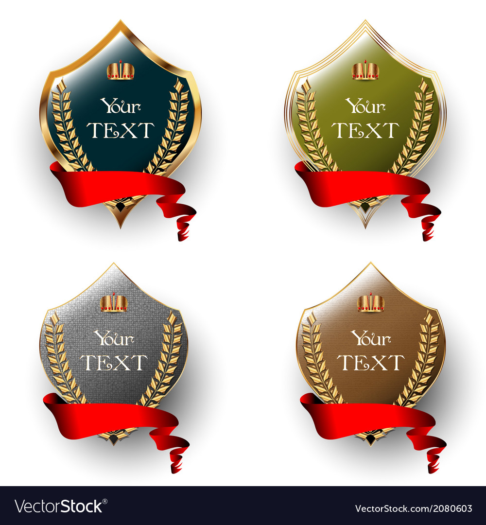 Royal labels with red ribbons vector | Price: 1 Credit (USD $1)