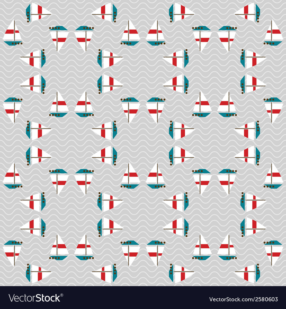 Seamless sea pattern with boats on waves vector | Price: 1 Credit (USD $1)