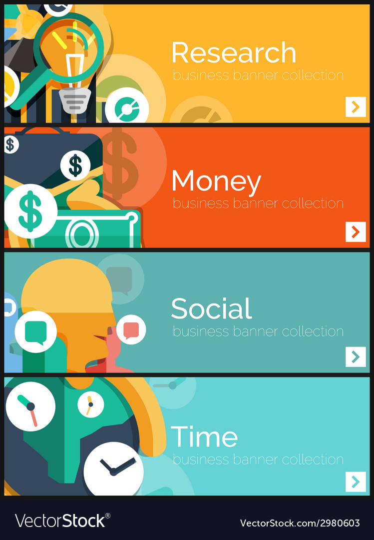 Set of flat design internet business banners vector | Price: 1 Credit (USD $1)