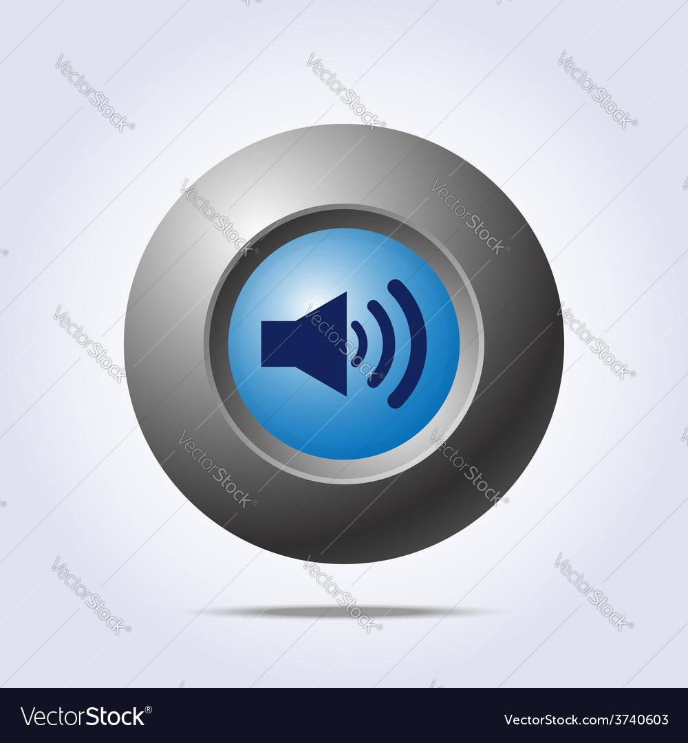 Speaker volume icon on blue button vector | Price: 1 Credit (USD $1)