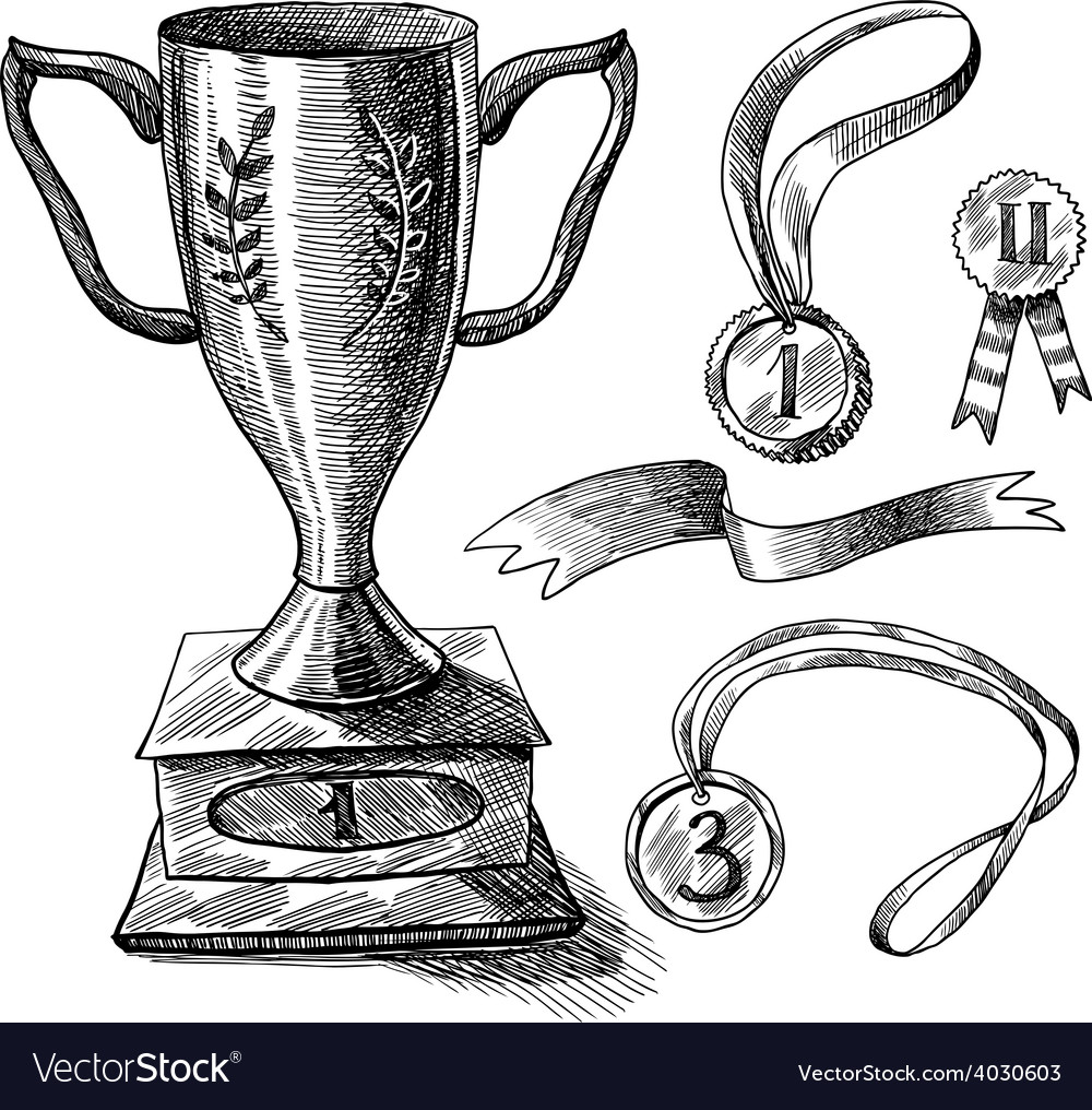 Trophy sketch set vector | Price: 1 Credit (USD $1)