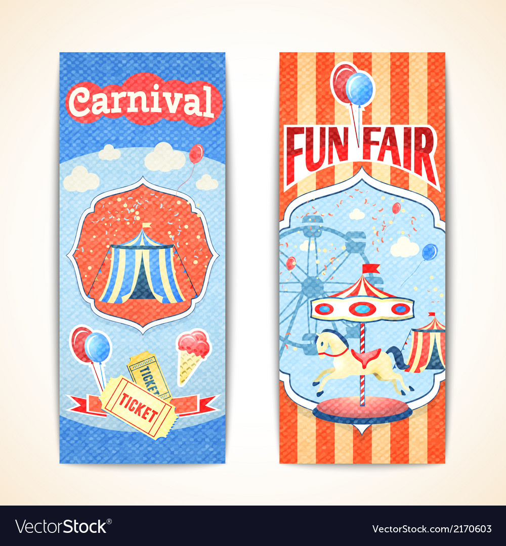 Vintage carnival banners vertical vector | Price: 1 Credit (USD $1)