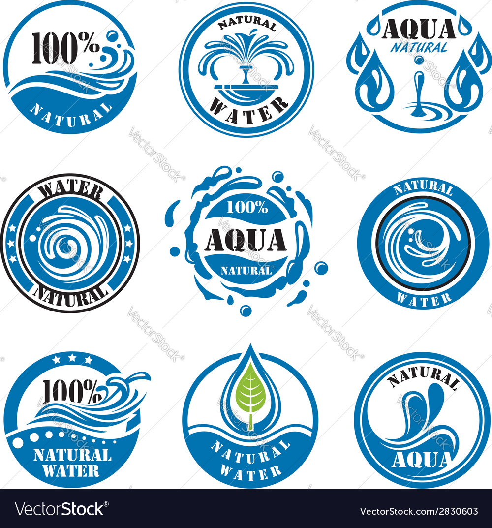 Water labels vector | Price: 1 Credit (USD $1)