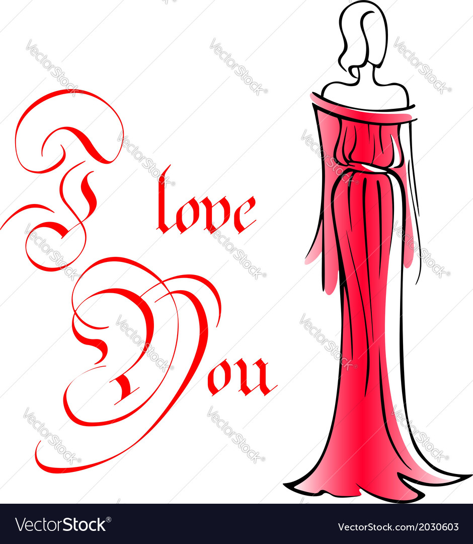 Woman in long red dress vector | Price: 1 Credit (USD $1)