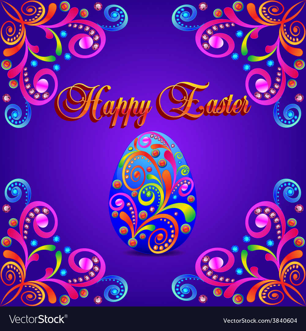 Card for easter eggs with ornament and precious vector