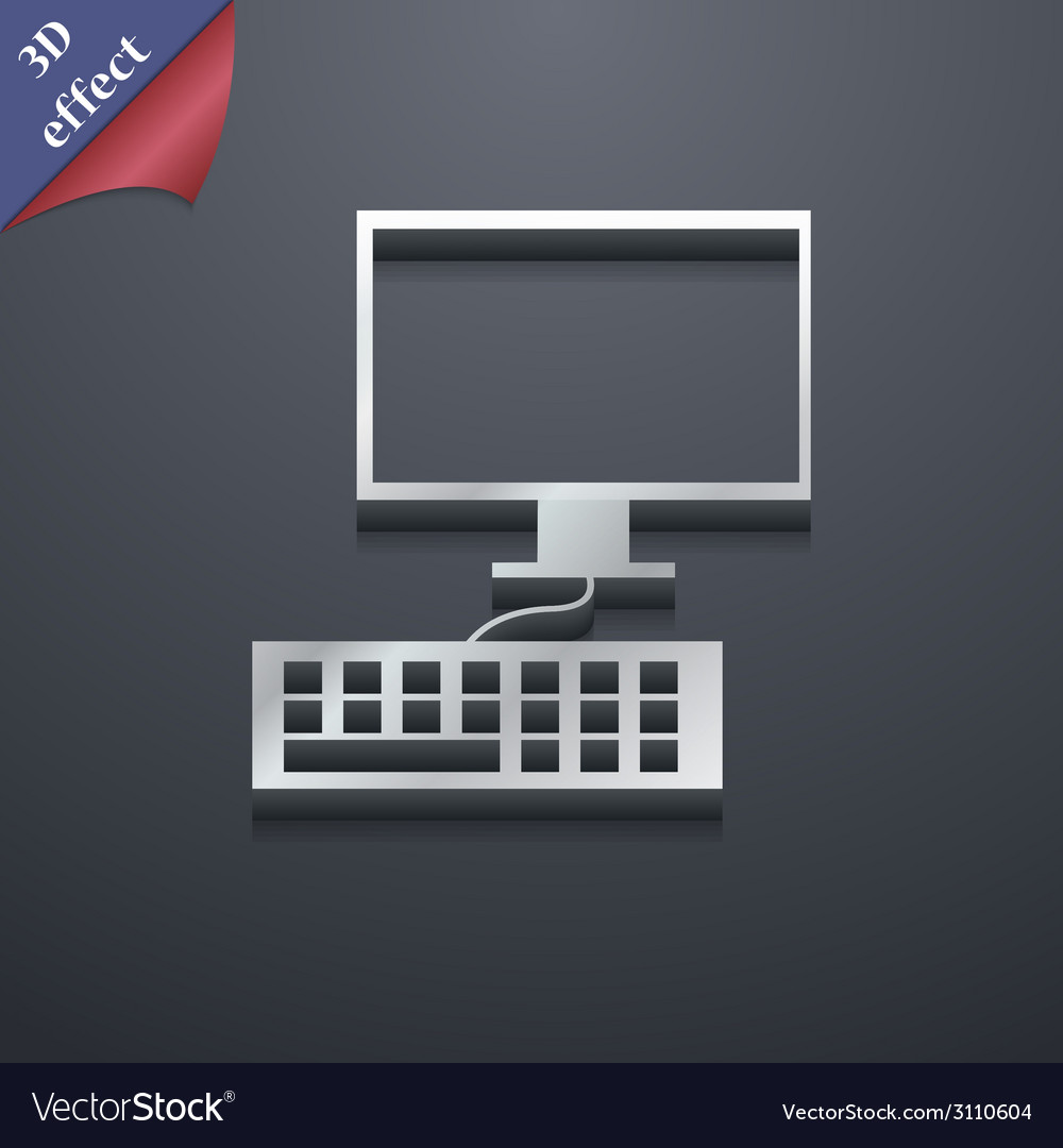 Computer monitor and keyboard icon symbol 3d style vector | Price: 1 Credit (USD $1)