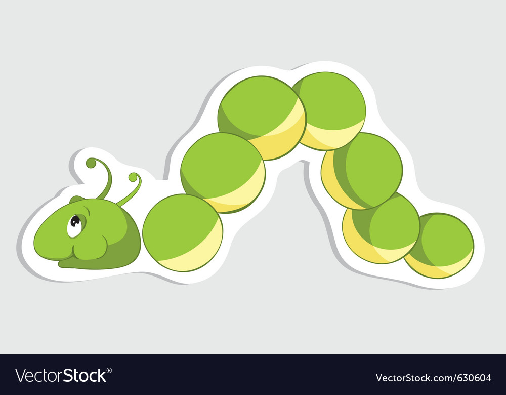 Fun caterpillar sticker vector | Price: 1 Credit (USD $1)
