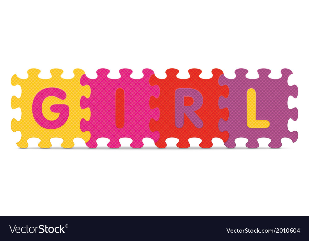 Girl written with alphabet puzzle vector | Price: 1 Credit (USD $1)