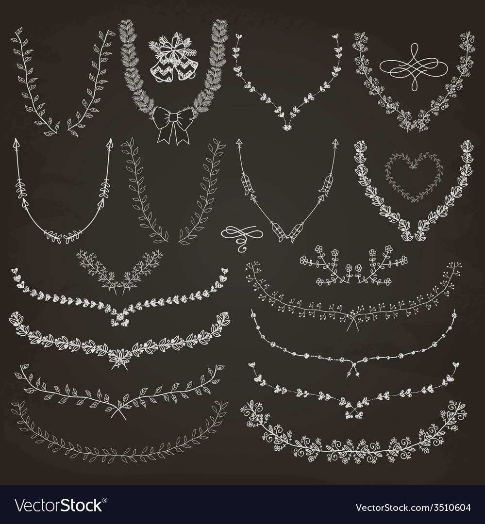 Hand-drawn floral wreaths laurels vector | Price: 1 Credit (USD $1)