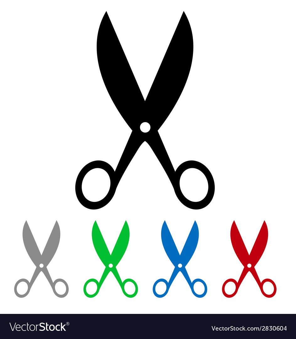 Isolated colorful big and small scissors vector | Price: 1 Credit (USD $1)