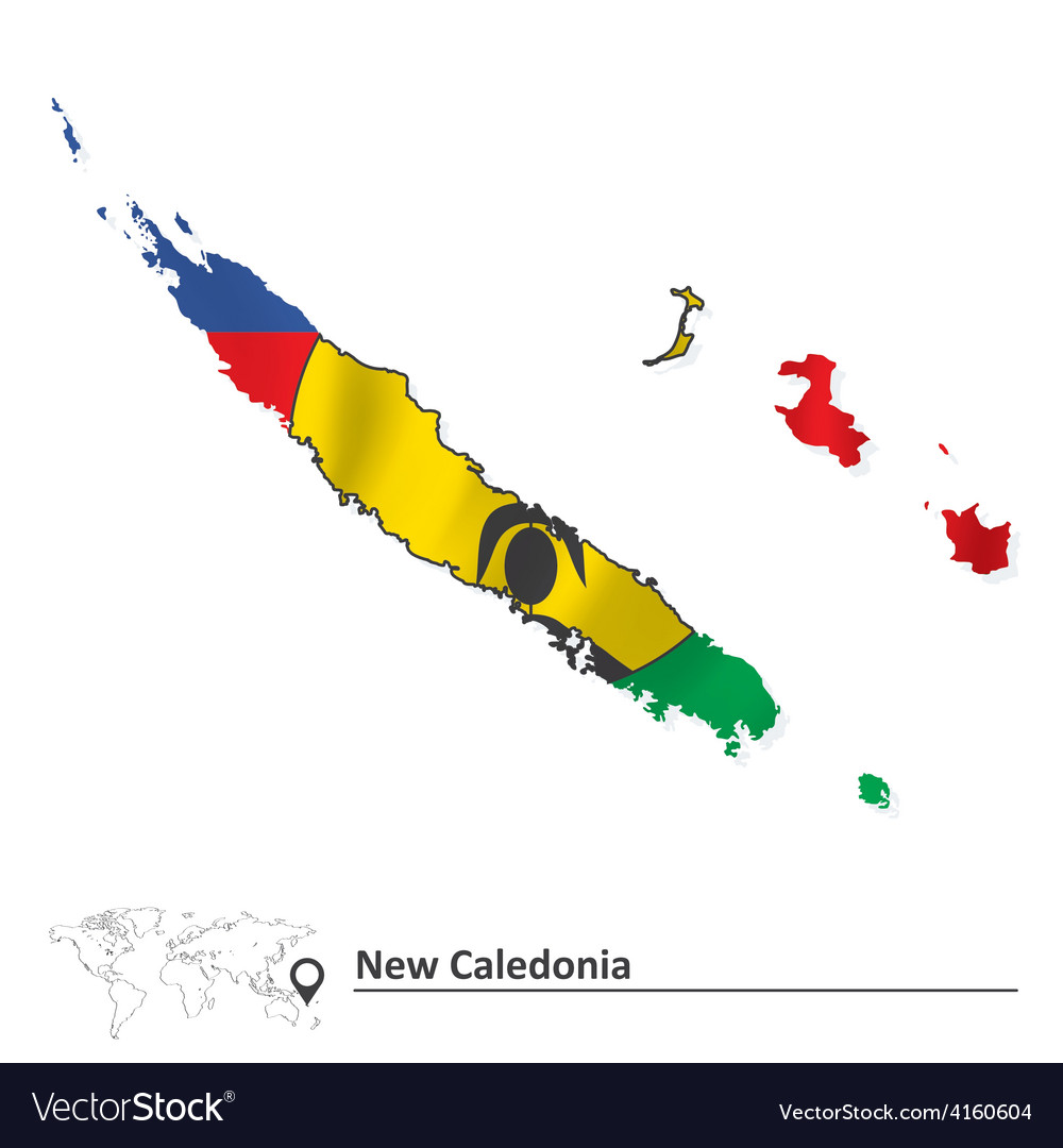 Map of new caledonia with flag vector | Price: 1 Credit (USD $1)