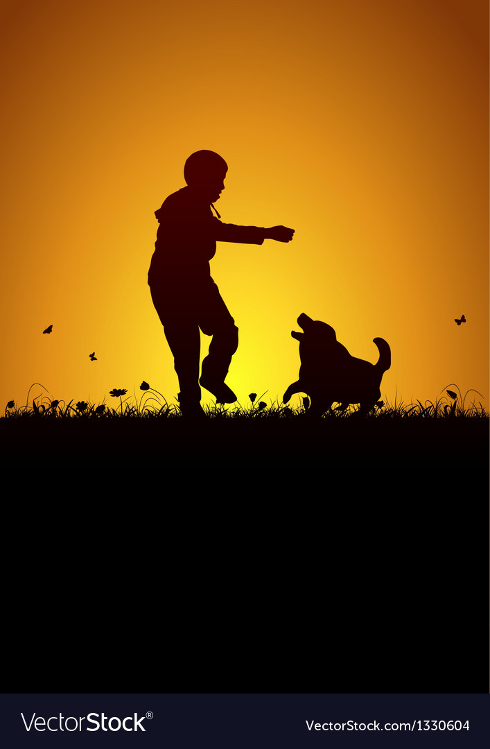 Playing kid and dog vector | Price: 1 Credit (USD $1)