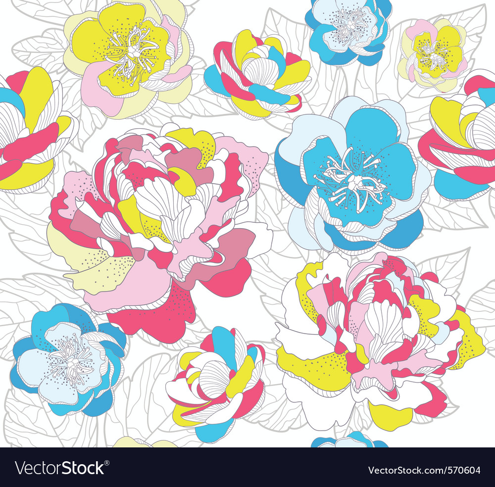 Seamless colorful floral pattern vector | Price: 1 Credit (USD $1)