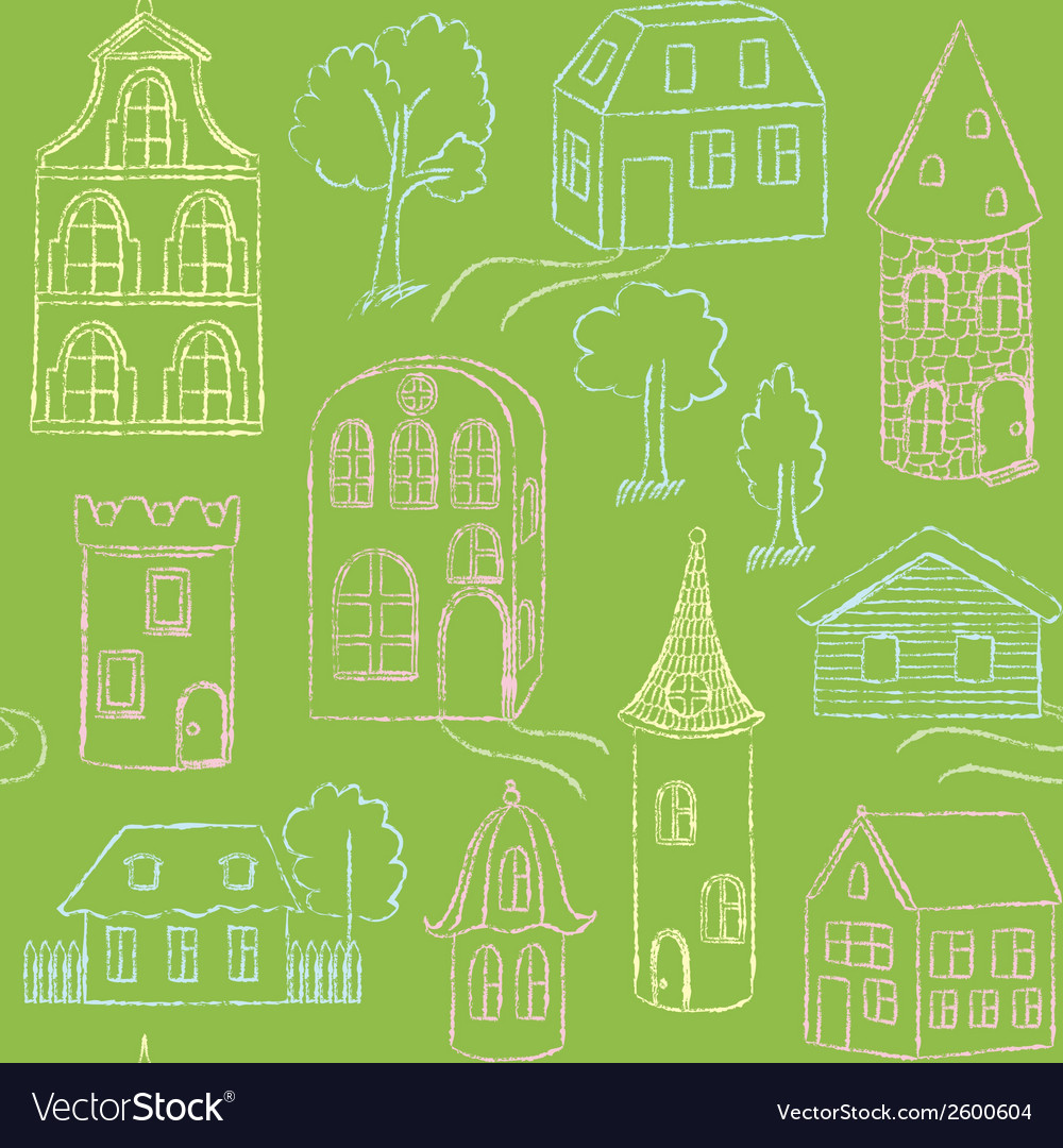 Seamless pattern with doodle houses vector | Price: 1 Credit (USD $1)