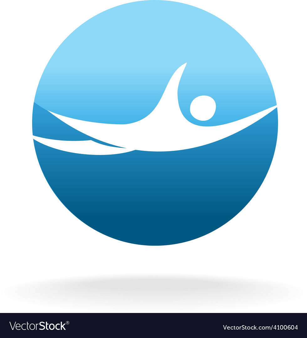 Swimming man sign pool or beach logo concept vector | Price: 1 Credit (USD $1)