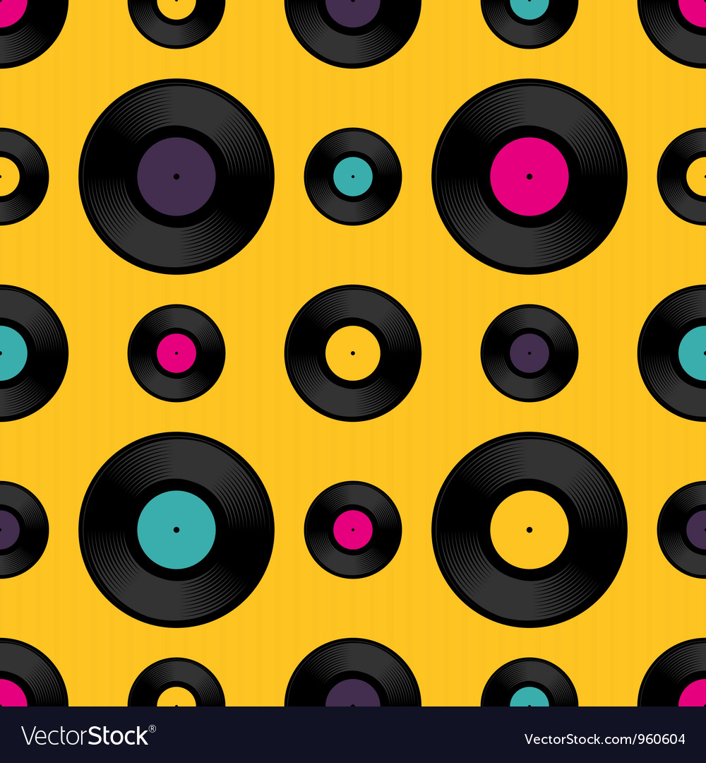 Vinyl record seamless background pattern vector | Price: 1 Credit (USD $1)