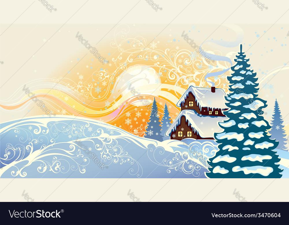Winter christmas landscape vector   Price: 3 Credit (USD $3)