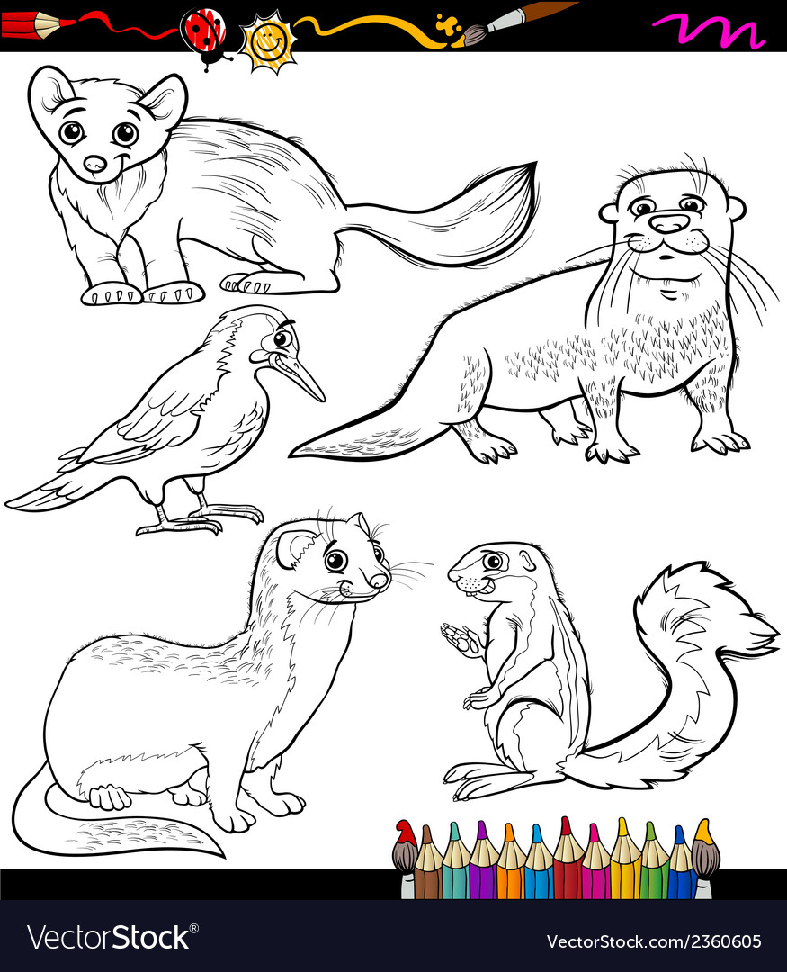 Animals set cartoon coloring book vector | Price: 1 Credit (USD $1)