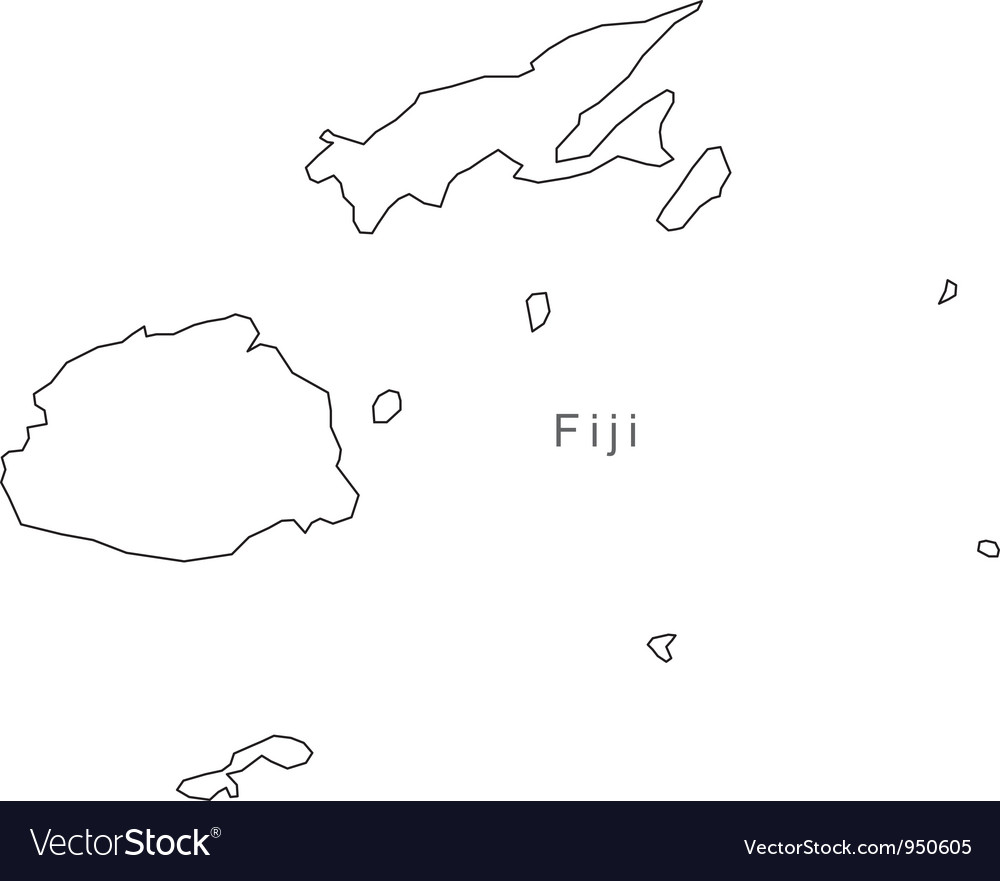 Black white fiji outline map vector | Price: 1 Credit (USD $1)