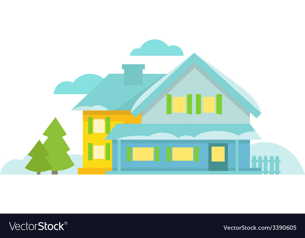 Blue cottage with spruce clouds and snow vector | Price: 1 Credit (USD $1)