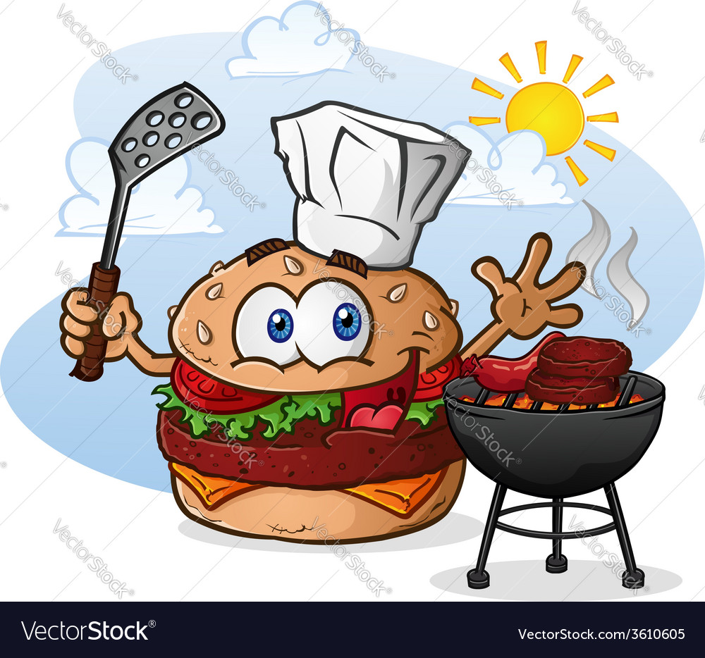 Burger chef grilling cartoon character vector | Price: 5 Credit (USD $5)