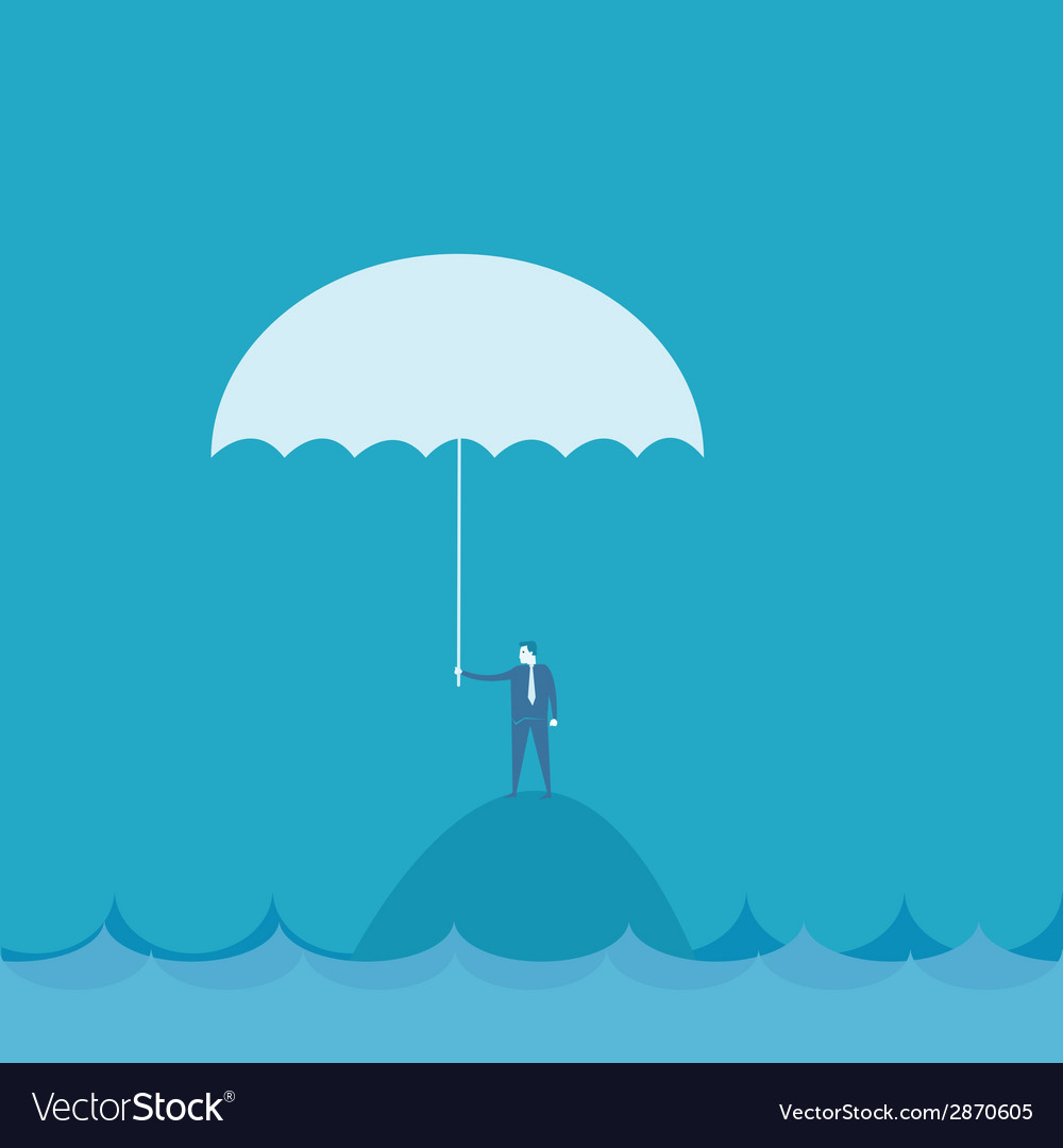 Businessman with umbrella riskconcept vector | Price: 1 Credit (USD $1)