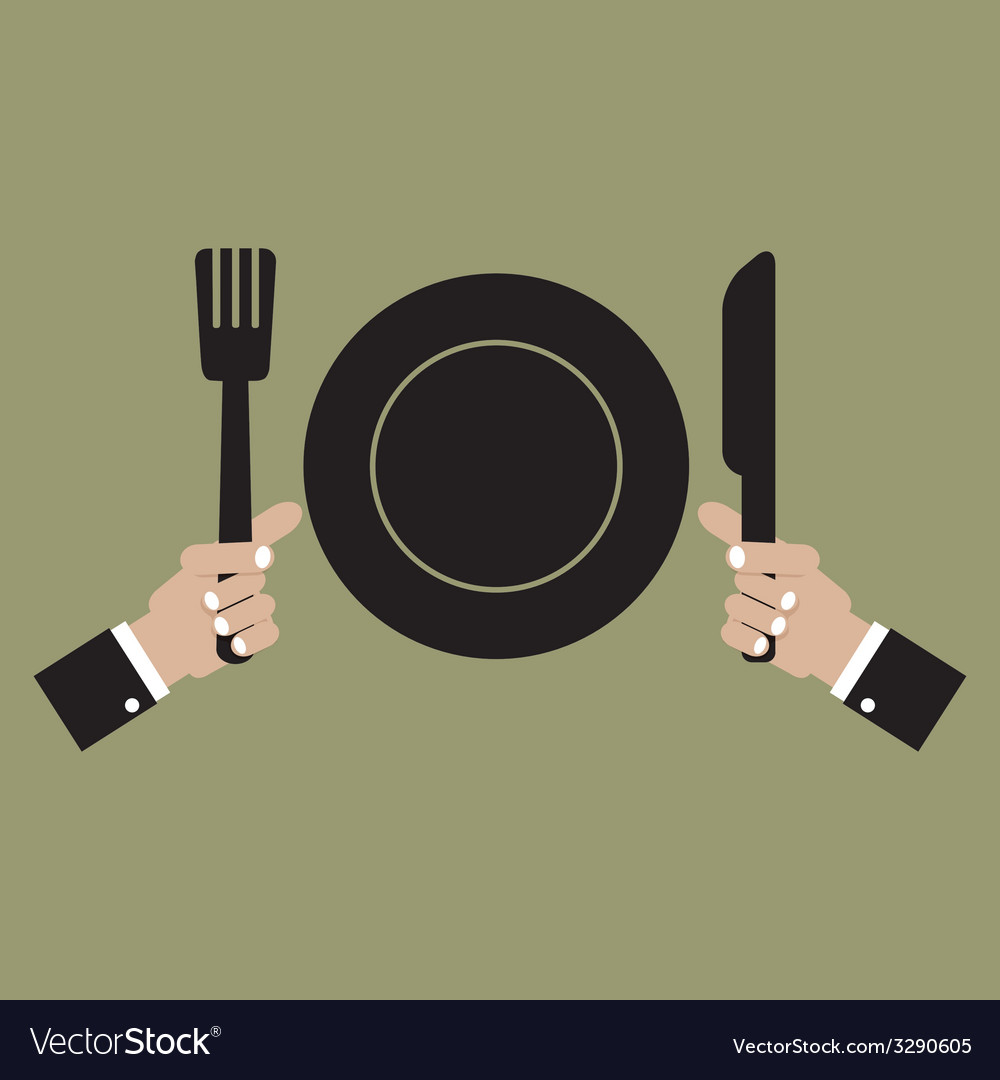 Clean plate with knife and fork vector | Price: 1 Credit (USD $1)