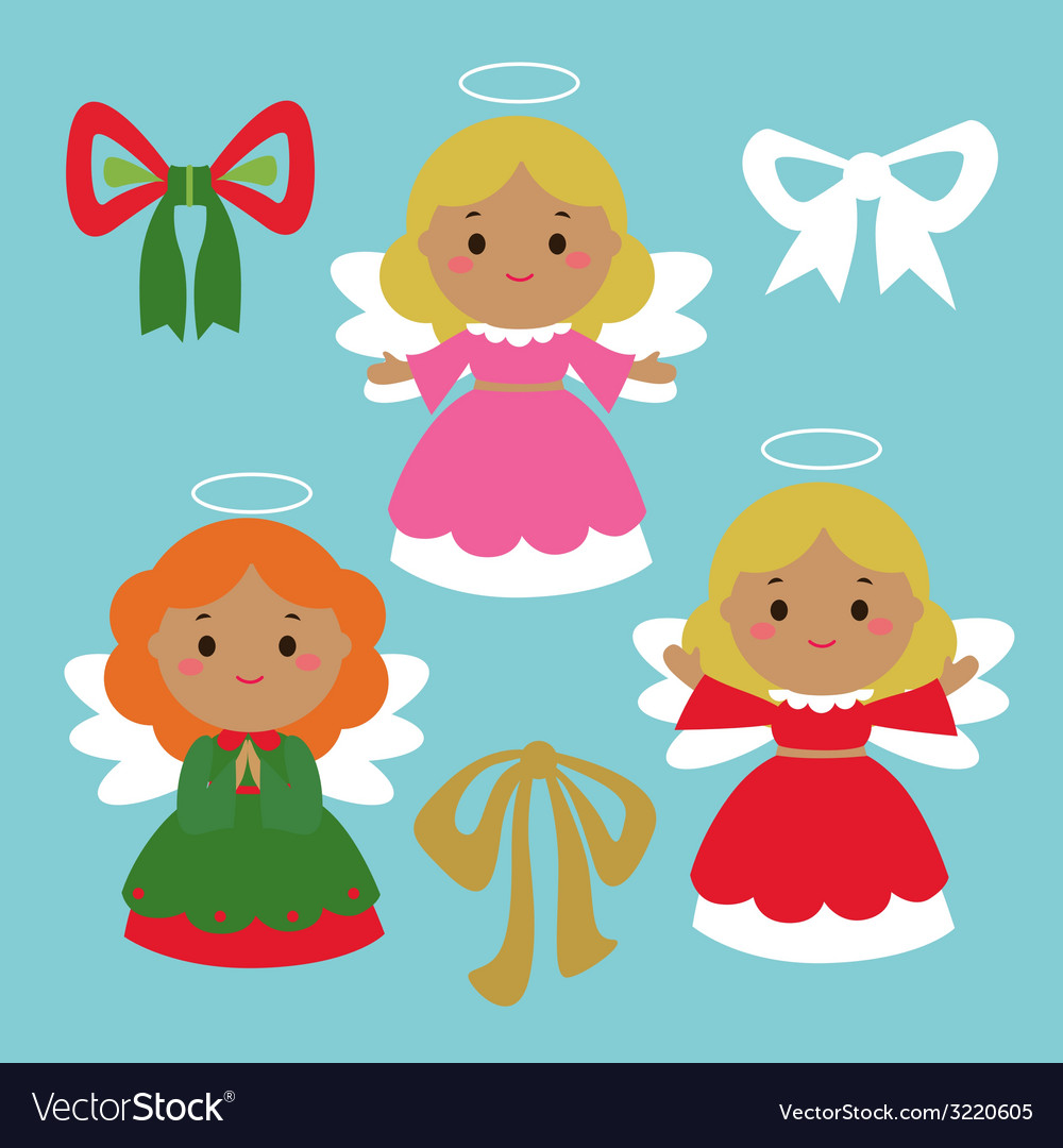 Cute holiday angels characters vector | Price: 1 Credit (USD $1)