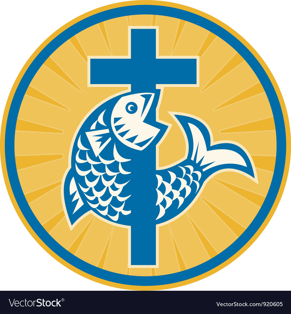 Fish jumping with cross retro vector | Price: 3 Credit (USD $3)