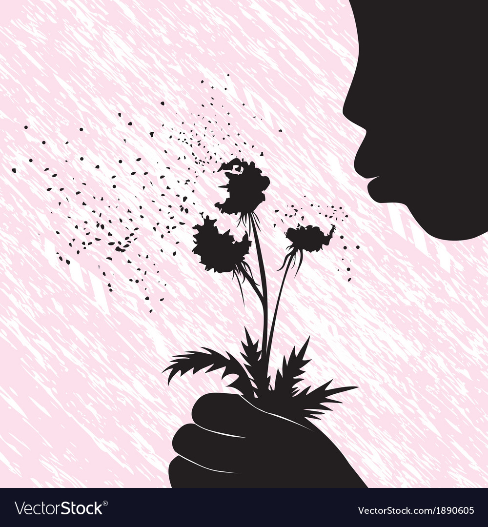 Girl women or kid blowing on dandelion flower vector | Price: 1 Credit (USD $1)