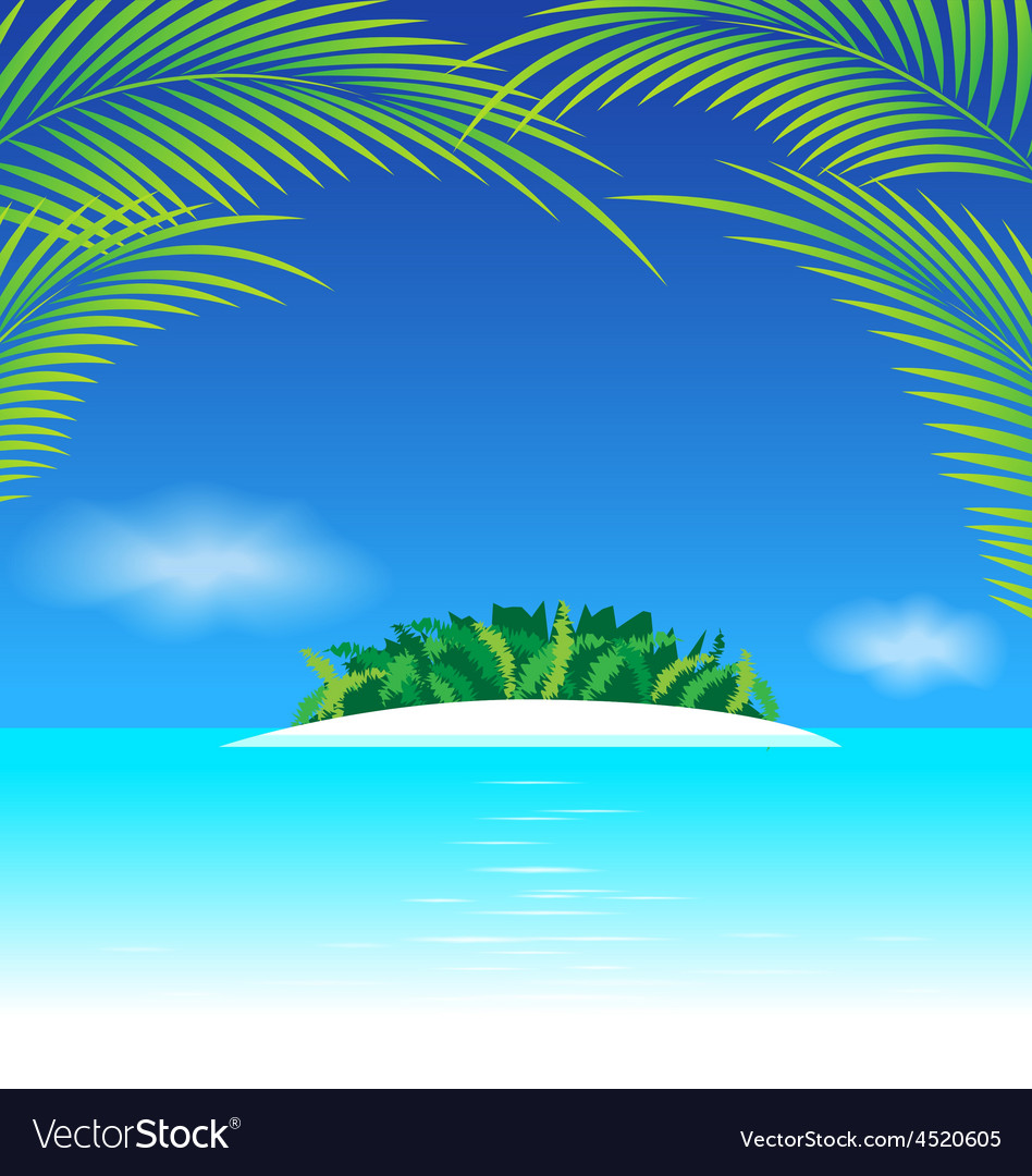 Paradise tropical island with coconut leaves vector | Price: 1 Credit (USD $1)
