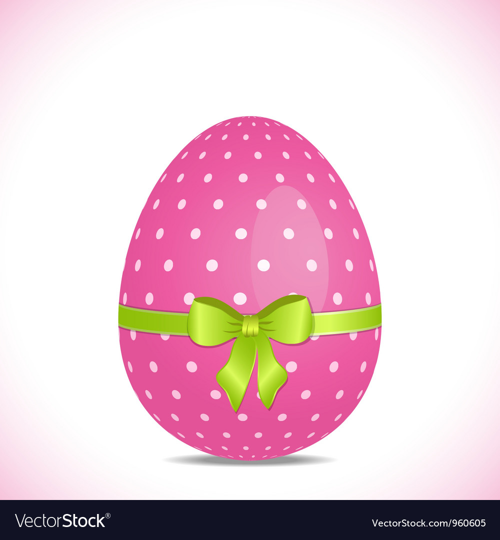 Pink polka dot easter egg with green ribbon vector   Price: 1 Credit (USD $1)