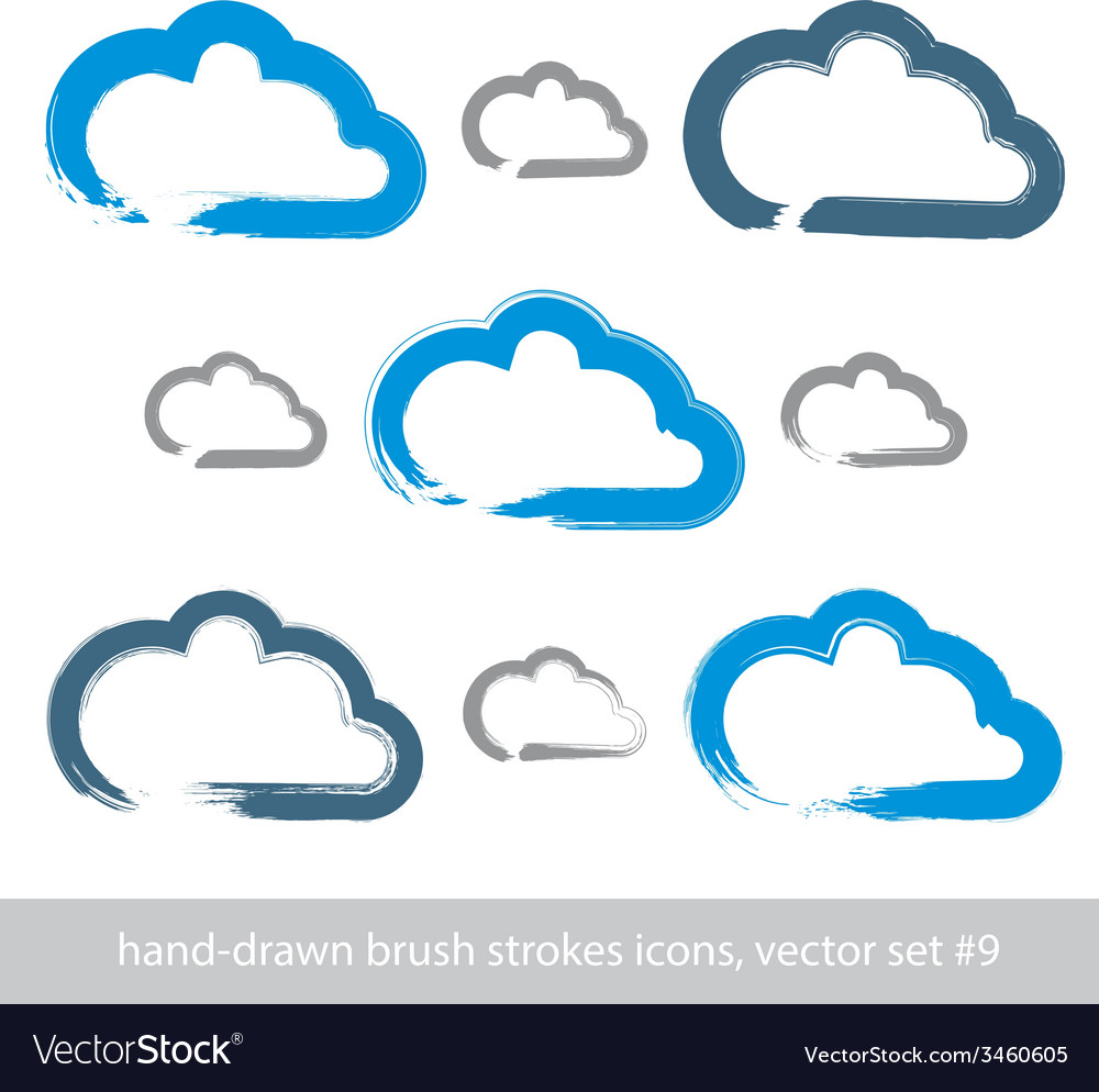 Set of hand-drawn simple stroke cloud icons vector | Price: 1 Credit (USD $1)