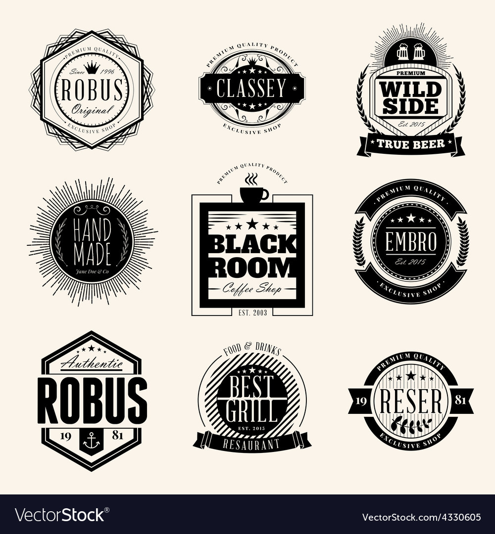 Set of retro vintage badges and logotypes design vector | Price: 1 Credit (USD $1)