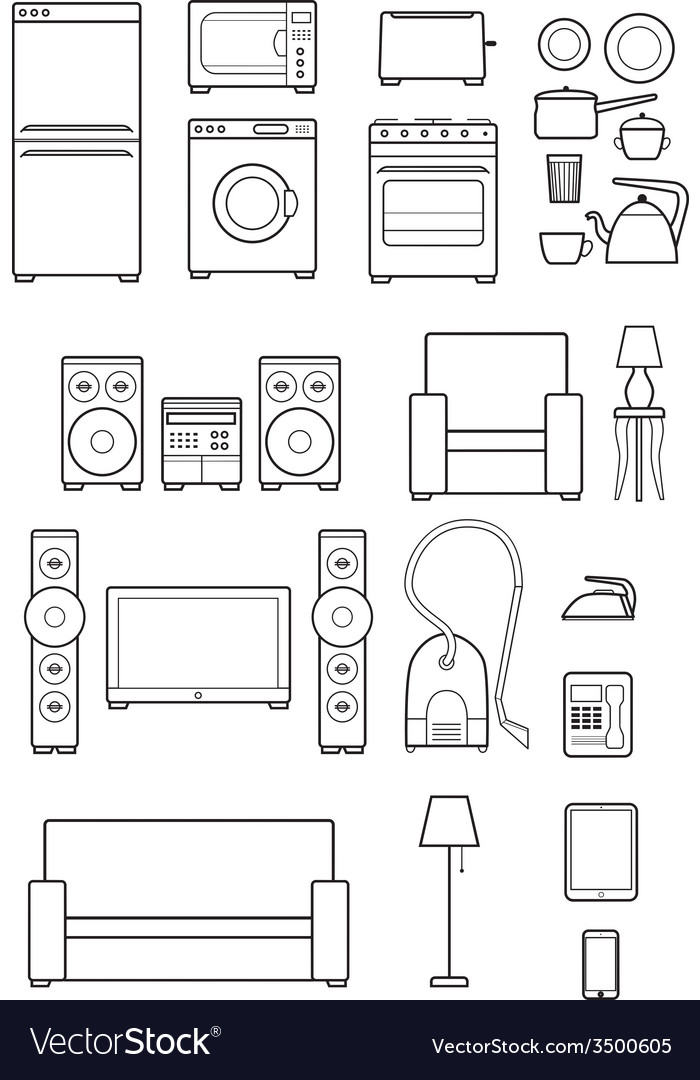 Set outline icons of household appliances vector | Price: 1 Credit (USD $1)